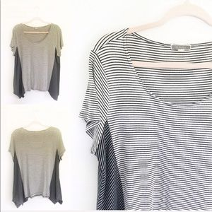 Pleione Black & White Stripe Short Sleeve Top